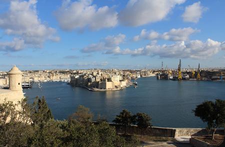 Three Cities as seen from Valletta, Malta Zdjęcie Seryjne - 81276133