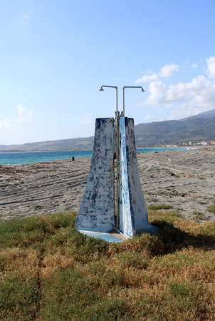 Old Dangerous Shower on the Beach, Sea Pollution