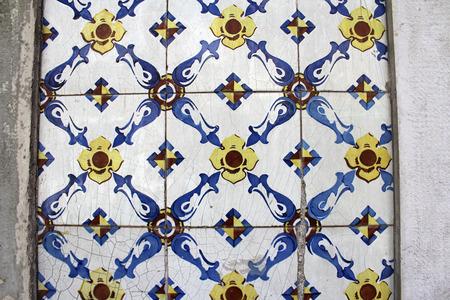 baixa: Typical City Tiles, Azulejos, Lisbon, Portugal