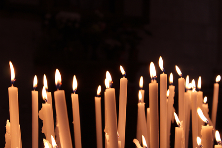 Candles, Pray Meditation, Yellow Flames, Background Stock Photo