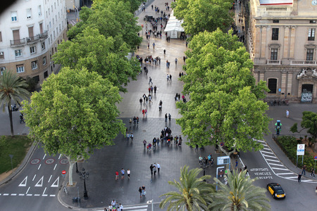 Barcelona Las Ramblas, Walking People, Spain
