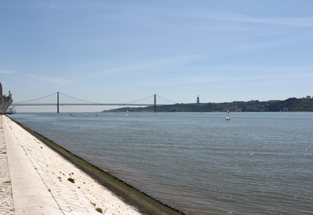 tagus: 25 April Bridge and Tagus River, Lisbon, Portugal Stock Photo