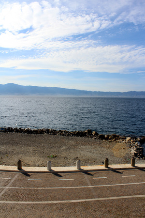 tyrrhenian: Strait of Messina as seen from Calabria, South Italy Stock Photo
