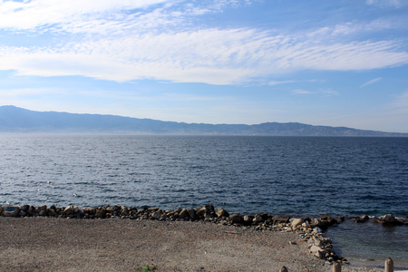 Strait of Messina as seen from Calabria, South Italy Stock Photo