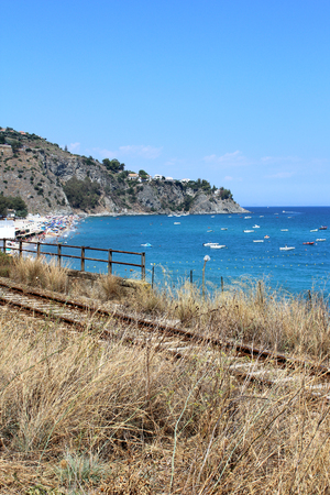 Old Railway and Sea, Italy, Europe Stock Photo