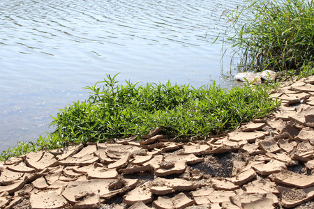 Cracked Ground and River, Earthquake Concept, Drought,
