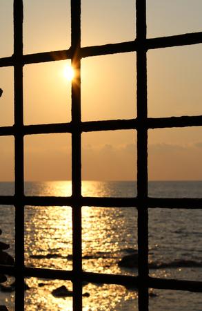 tyrrhenian: Old Iron Windows, Beautiful Sea and Sunset