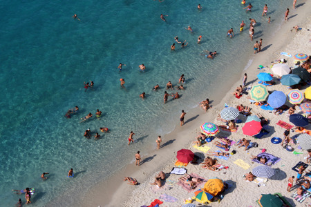 tyrrhenian: People on the Beach, Summer Time, Beautiful Blue Sea