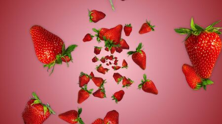 Red Strawberries Illustration Background Zdjęcie Seryjne - 132190083