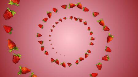 Red Strawberries Illustration Background, Zdjęcie Seryjne - 132965934