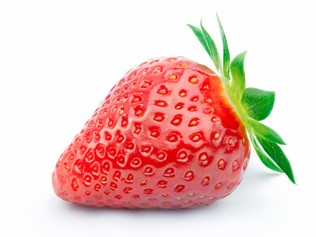 cleaned: Perfectly cleaned strawberry with leaves isolated on the white background with clipping path