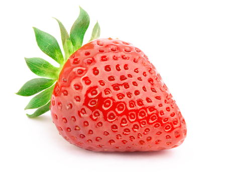 Perfectly cleaned strawberry with leaves isolated on the white background with clipping path