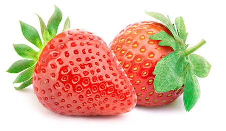 perfectly: Two perfectly cleaned strawberries with leaves isolated on the white background with clipping path