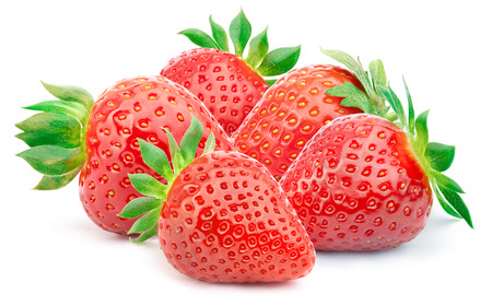 cleaned: Five perfectly cleaned strawberries with leaves isolated on the white background with clipping path Stock Photo