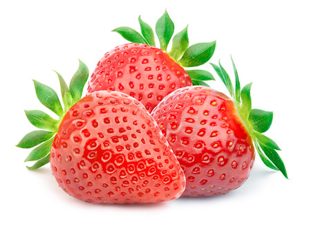 Three perfectly cleaned strawberries with leaves isolated on the white background with clipping path