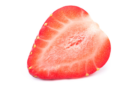 cleaned: Perfectly cleaned sliced strawberry isolated on the white background