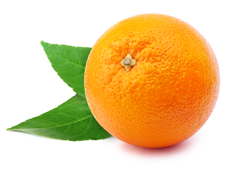 perfectly: Perfectly retouched whole orange with leafs isolated on white background whith clipping path Stock Photo