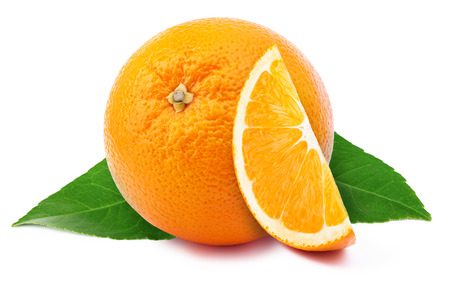 perfectly: Perfectly retouched orange with slice isolated on white background whith clipping path