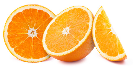 perfectly: Perfectly retouched orange slices isolated on white background with clipping path