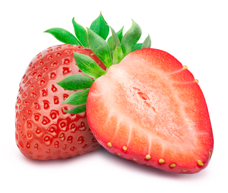 perfectly: Perfectly retouched strawberry with sliced half and leaves isolated on white background whith clipping path