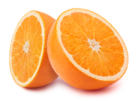 retouched: Perfectly retouched sliced halfs of oranges isolated on the white background with clipping path Stock Photo