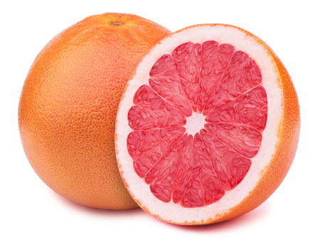 retouched: Perfectly retouched grapefruit with half slice isolated on white background with clipping path