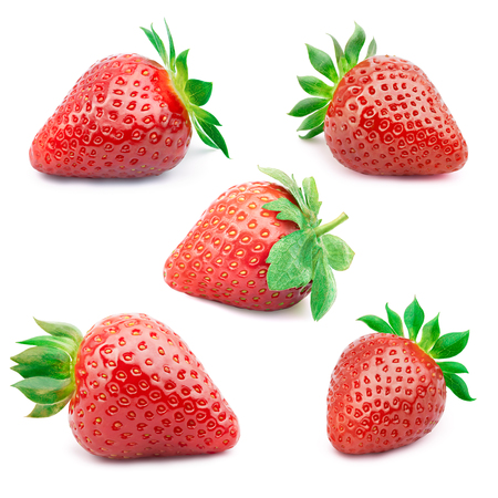 cleaned: Set of five perfectly cleaned strawberries with leaves isolated on the white background with clipping path.