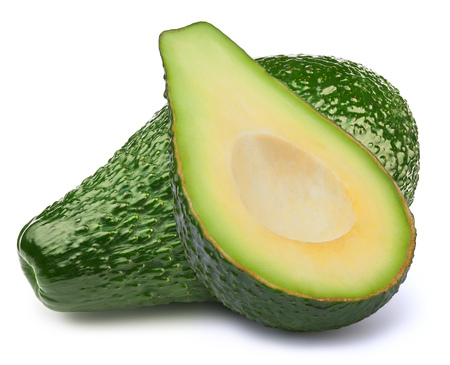 Green avocado with half slice isolated on white background, with clipping path Stock Photo