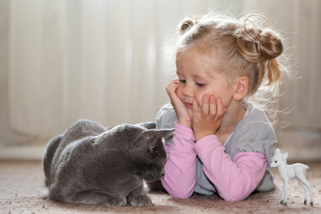 A girl in a pink blouse and a gray sundress plays with a gray cat. She lies next to him and looks at the cat. On the other side of it is a childrens toy white fawn.