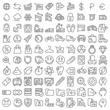 100 line icons set for web design and user interface Vector