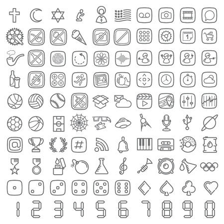 100 line icons set for web design and user interface