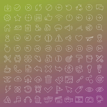 windows media video: 100 vector line icons set for web design and user interface in flat graphic style. More lighter lines then ever, nice detail and easily identifiable.