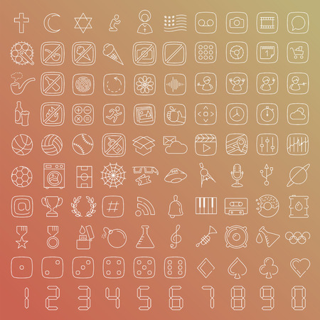 explosive watch: 100 vector line icons set for web design and user interface in flat graphic style. More lighter lines then ever, nice detail and easily identifiable.