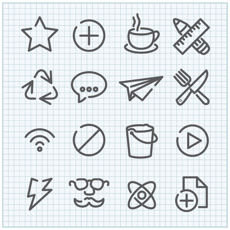 Line vector icon set for web design and user interfac Vector