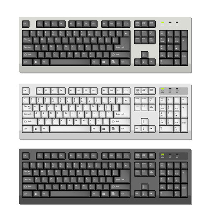 Three Vector Computer keyboards with ENG letters Vector