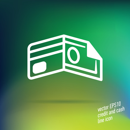 easy money: Vector credit and cash thin line icon with nice details on smooth gradient mesh background. Useful for web design and application interface. Great for branding and infographics.
