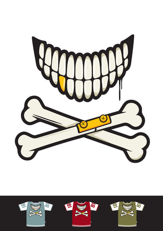 bombing: Tattoo styled smile with crossed bones. Great for sticker bombing and t-shirt print.