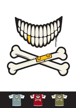 bombing: Tatuaje sonrisa estilo con huesos cruzados. Grande para el bombardeo etiqueta y camiseta de impresi�n.