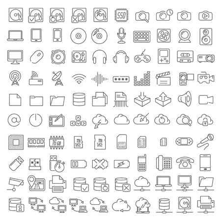 One hundred linear icons of electronics and digital devices for infographics and application interface. Vector