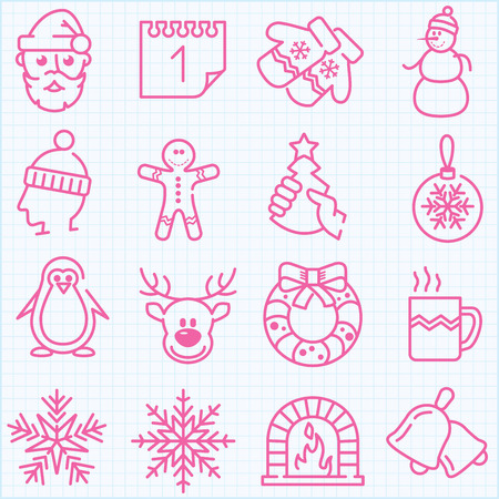 Thin line winter and Christmas time icons set for web design, applications and infographics Vector