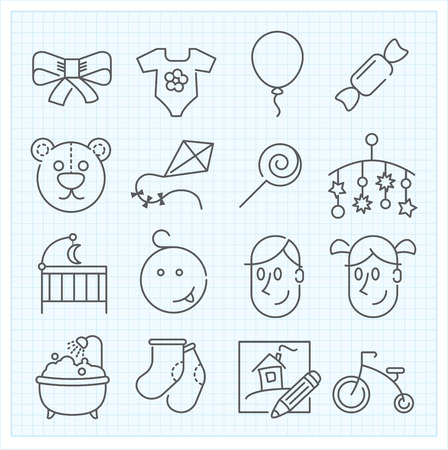 boy bath: Baby thin line icons for web interface and applications Stock Photo