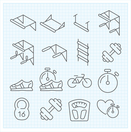 rope ladder: Vector thin line set of sport icons