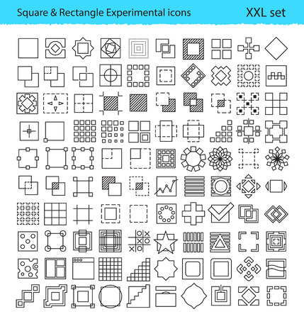 geometric icons for UXUI tools and mobile prototypes with Square and Rectangle shapes