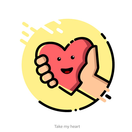 give and take: illustration in flat graphic style for Valentines Day greeting card Illustration