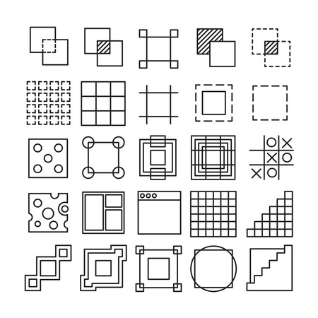 usability: set of Square and Rectangle experimental icons with different shape and extreme usability. Great for UIUX wire frame experiments.