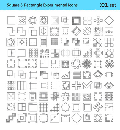 prototypes: Vector geometric icons for UX  UI tools and mobile prototypes with Square and Rectangle shapes Illustration