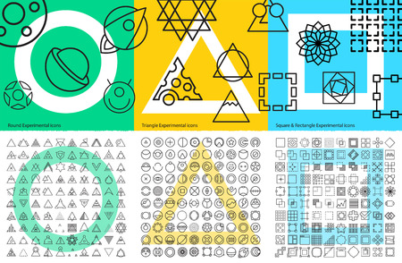 prototypes: XXL set of abstract geometric linear icons for tools, mobile prototypes and web app