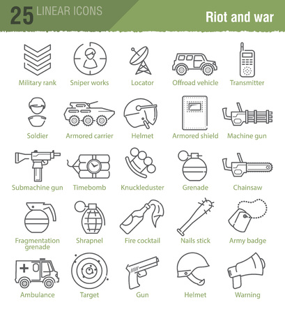 Vector linear icons set for military infographics, web design, TV news and mobile game UI Illustration