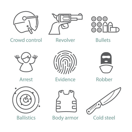 cold pack: Vector thin line police icons for infographics and mobile games UXUI