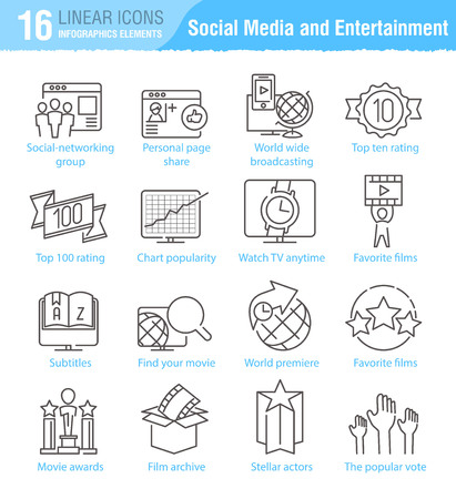 miscellaneous: Miscellaneous social media and entertainment vector thin line icons set for TV infographics and mobile UXUI